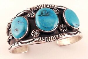 HEAVY OLD VINTAGE PAWN STYLE STERLING & TURQUOISE BRACELET-INTENSE BLUE STONES!