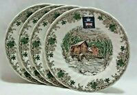 """Churchill Royal Wessex Winter Mill Porcelain 8"""" Salad Plates Set of Four NEW"""