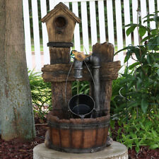 "Sunnydaze Bird House Leaking Pipe Outdoor Water Fountain 29"" Water Feature w/Led"