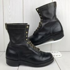 Vintage Knapp Brown Leather Lace-Up Combat Boots Made In USA Men's Size 8.5D