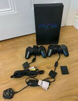 Sony PlayStation 2 PS2 Phat Black Console SCPH-50003 with 2 Official Controllers