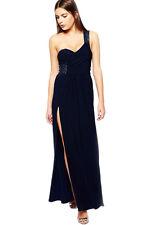 Navy Blue Sequin Embellished Shoulder Side Night Club Maxi Dress