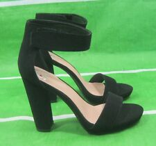 "new ladies Black 4.5""High Block Heel ankle strap  Open Toe Sexy Shoes Size 7"