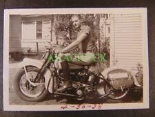 Four Photo HARLEY DAVIDSON MOTORCYCLE 1938 Oklahoma City NICHOLS HILLS Bro Sis