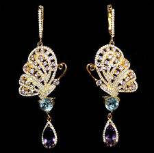 Chandeliers with Butterfly,Amethyst,Topaz, Yellow Gold from 925 Silver