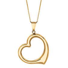 """14k Oro Amarillo Amor semicirculares de encanto del corazón Colgante Con 18 """"chain-Regalo De San Valentín"""
