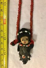 """WHITE HEART BEAD NECKLACE WITH FETISH DOLL PENDANT 26"""" LONG VINTAGE"""