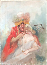 Rare Tableau Huile LOUIS MORIN Scène Homme Turban Grotesque Femme vers 1900