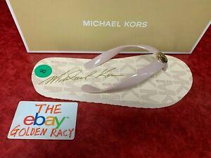 NIB Michael Kors Jet Set Womens Rubber Flip Flops Ballet/Gold SZ 6-10 45H3MKFAQ