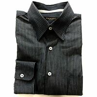 "Canali Blue and Black Striped Button Down Shirt Size XL 16"" Neck"