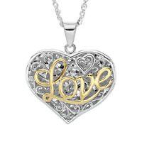 Script 'Love' Filigree Heart Pendant in Sterling Silver & 10K Gold