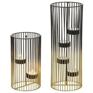 Decorative Black & Gold Metal Candle Tealight Holder Wire Centerpiece Home Décor