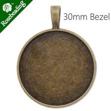 Frame Base Bezel Setting Tray Pendant Charm fit 30mm round Cabochon 20PCS C3964