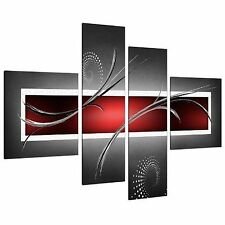Large Red Black Grey Abstract Canvas Pictures 130cm XL Wall Art 4091
