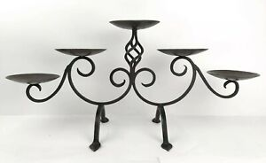 5 Candle Candelabra Iron Metal Scroll Candle Holder Fireplace Centerpiece Decor