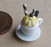 1:12 Scale Coffee In A White Ceramic Cup + Saucer Dolls House Miniature Drink D8
