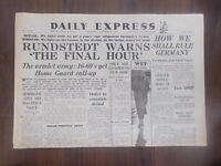 DAILY EXPRESS WWII NEWSPAPER OCTOBER 19th 1944 GERMANY CALLS UP 16-60 YEAR OLDS