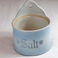 Authentic Handmade Antique Stoneware Salt Glazed Hanging Salt Box Crock