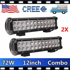 "2X 12"" 72W CREE LED Work Light Bar Flood Spot Offroad Truck Fog Driving SUV Boat"