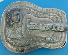 """VINTAGE 1977 ELVIS (PRESLEY) """"Kings Men"""" COMMEMORATIVE MUSIC PEWTER BELT BUCKLE"""
