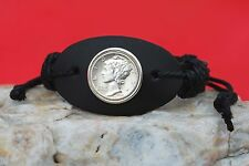 US 1944 Mercury Dime Silver 10 Cent Coin Genuine Leather Cuff Bracelet NEW