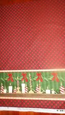 Holiday Home Candles & Swag Double Border Cotton Fabric