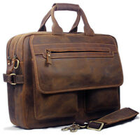 "Men's Cowhide Real Leather Tote Bag Shoulder bag messenger 15""laptop Briefcase"