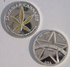 1/10th Oz .999 Solid Fine Silver Gold Leaf Canadian Cannabis Coin w/free U.S