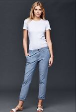 New With Tags GAP Women's Girlfriend Khakis Chambray Blue Roll Hem 6 Tall