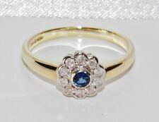 9ct Gold Blue Sapphire & 0.25ct Diamond Daisy Cluster Engagement Ring size Q