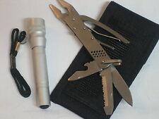 kleines Pocket Multi-Tool Werkzeug + Gürteltasche + Taschenlampe u.Taschenmesser