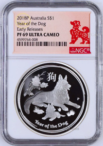 2018 P Australia PROOF Silver Lunar Year of the DOG NGC PF69 1 oz $1 Coin ER