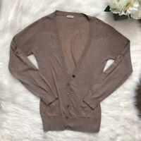 Anthropologie One Teaspoon Cardigan Sweater Roll Button Sleeve Sz Medium Tan