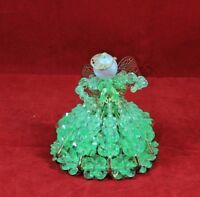 Latch Pin Safety Pin Angel Doll Light Green Clear Beads  Hand Made Vtg Crafts
