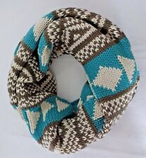 Aztec infinity scarf knit loop turquoise brown beige acrylic Look by M