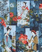 Fabric #2523 Geisha Cranes Foliage on Blue Kona Bay Sold by 1/2 Yard See Descrip