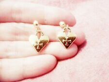 Boho Kitsch Retro Vintage Fun Funky Quirky Steampunk Golden Heart Charm Earrings