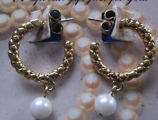 AVON*GOLD-TONE HOOP W/PEARL PIERCED EARRINGS W/SURGICAL STEEL POSTS*NEW*1996