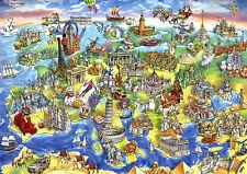 Puzzle Europäische Wahrzeichen, 1000 Teile, Europa, Baudenkmäler, Karte, Educa