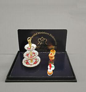 9911071 Reutter Puppenstuben-Miniatur Porzellanetagere Donuts Pralinen Kekse