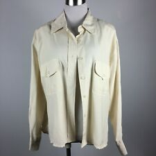 Alexandria L Large Silk Blouse Ivory L/S Chest Pockets Removable Shoulder Pads