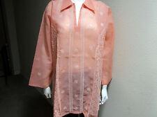 New India Chikan 100% Cotton Ethnic Kurta Kurti Collar Peach Ladies Top Blouse