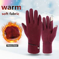 Women Ladies Winter Warm Thick Fleece Lined Thermal Button Touch Screen Glove tx