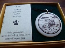 Ceramic Necklace Pendant Lion Totem Motif Black Cord String Boxed Gift Accessory