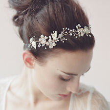 Gold Tone Faux Pearl Flower Leaves Wedding Vine Crystal Forehead Princess Tiara