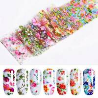 10 Sheets Nail Foils Mixed Flower Stickers Nail Art Transfer Decals Decoration