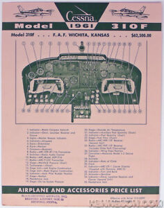 Cessna Aircraft 310F 1961 Airplane and Accessory Price List Dealer Brochure