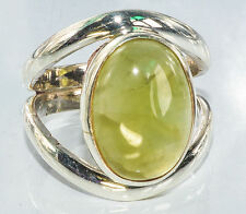 Sterling Silver Traditional Asian Vintage Style Prehnite Stone Ring Size N Gift