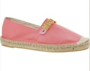 MOSCHINO Couture Designer Pink & Gold Logo Espadrilles Flat Shoes UK Size 5 New
