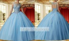 Custom Quinceanera Beaded Gown Wedding Prom Ball Dress Size 4-6-8-10-12-14-16++